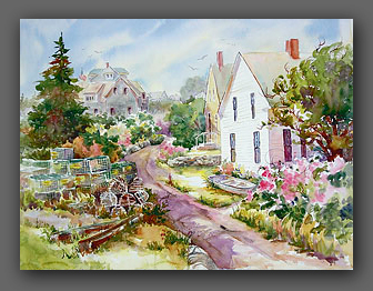 Jan Kilburn, watercolor, Monhegan Island