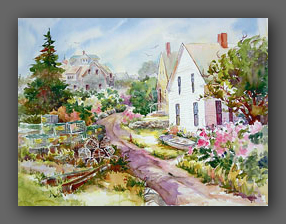 "Jan Kilburn, watercolor limited edition print, ""Monhegan Island"""