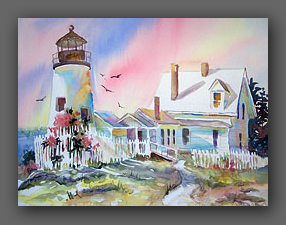 "Jan Kilburn, watercolor, ""Pemaquid Light"""