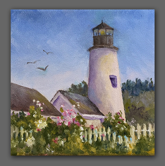 "Jan Kilburn original oil, ""Pemaquid Light"""