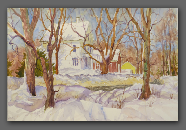 "Jan Kilburn Jan Kilburn orginal watercolor, ""Bristol Road Winter"""
