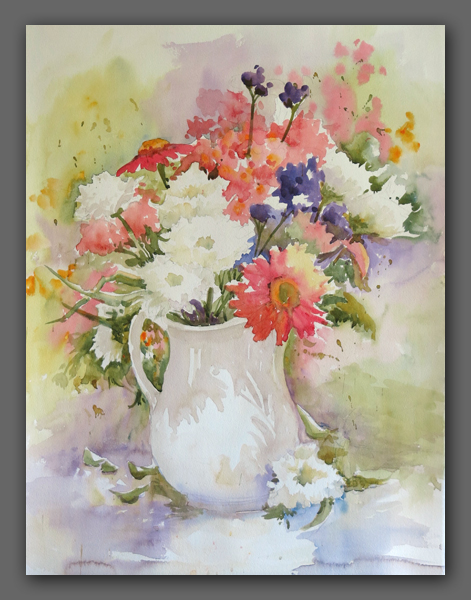 "Jan Kilburn orginal watercolor, ""Grand Bouquet"""