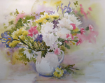 "Jan Kilburn original watercolor, ""White Pitcher with Flowers"""