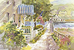 "Jan Kilburn print from original watercolor, ""Boothbay Foot Bridge"""