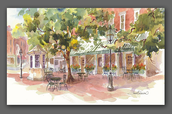 "Jan Kilburn print, ""Cafe at the Square"""