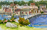 "Jan Kilburn print, ""Boothbay Village"""