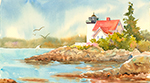 "Jan Kilburn print from the original watercolor, ""Hendricks Head Light"""