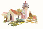 "Jan Kilburn print from original watercolor, ""Monhegan Light"""