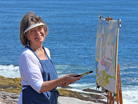 Jan Kilburn painting watercolors at Pemaquid Point, Maine